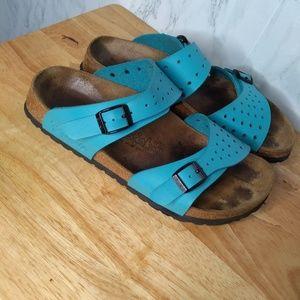 Birks By Birkenstock Teal Blue Slip On Sandals 7